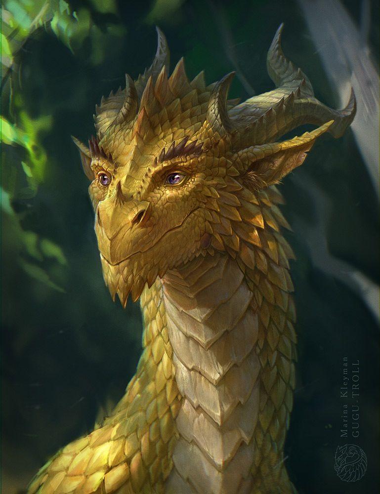 Imagen de un dragón dorado